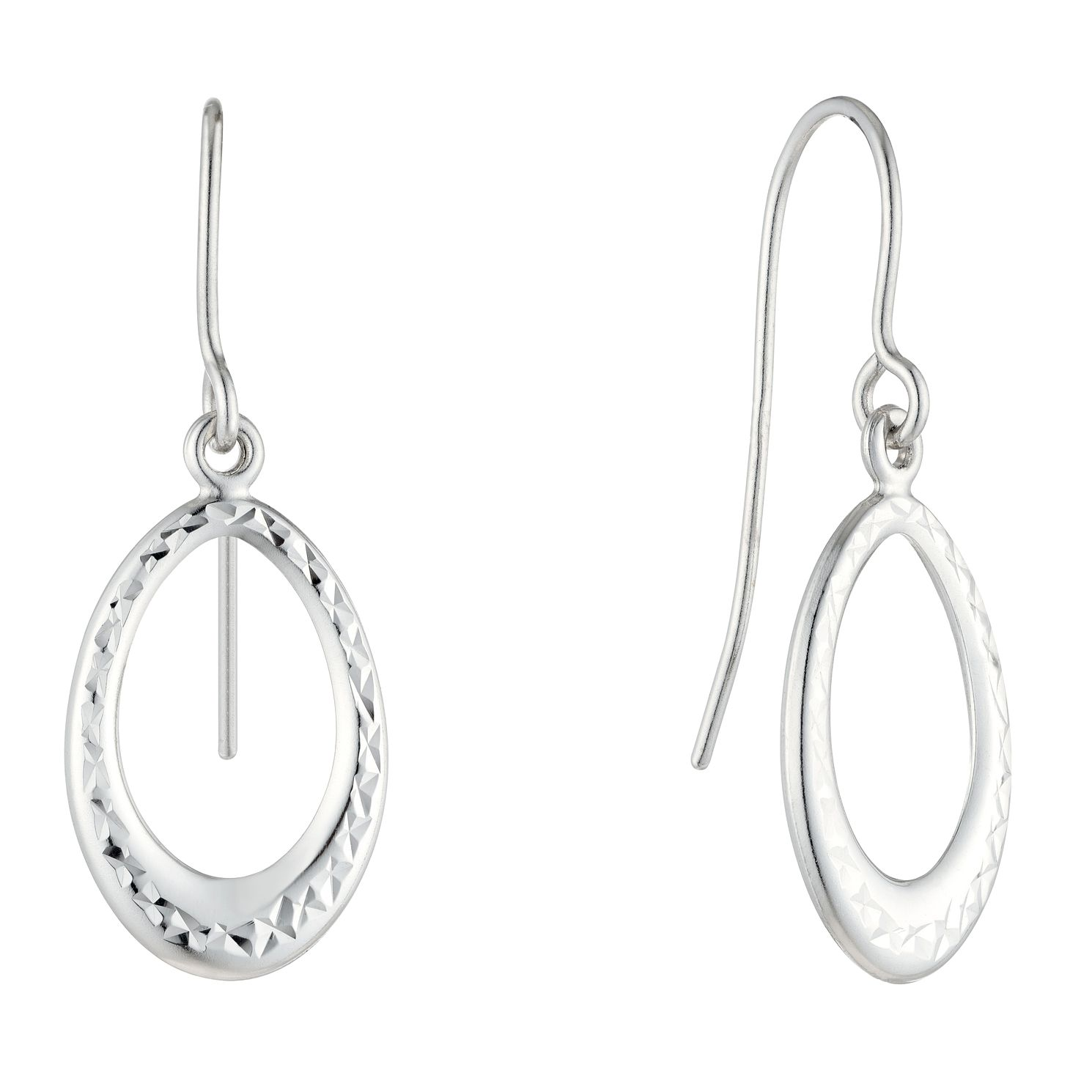 9ct White Gold Diamond-Cut Open Oval Drop Earrings - Product number 5088860