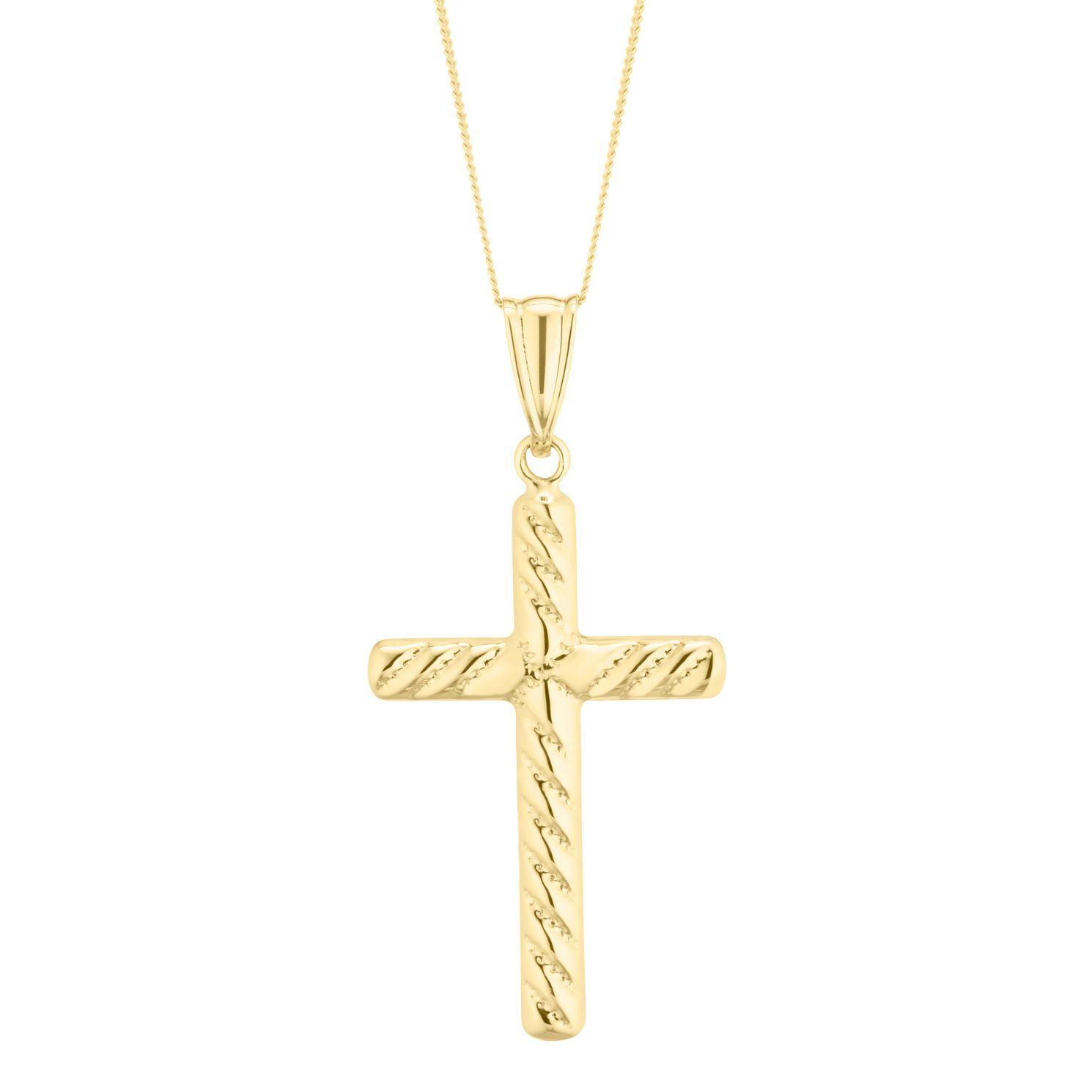 9ct Yellow Gold Rope-Cut Cross Pendant - Product number 5088895