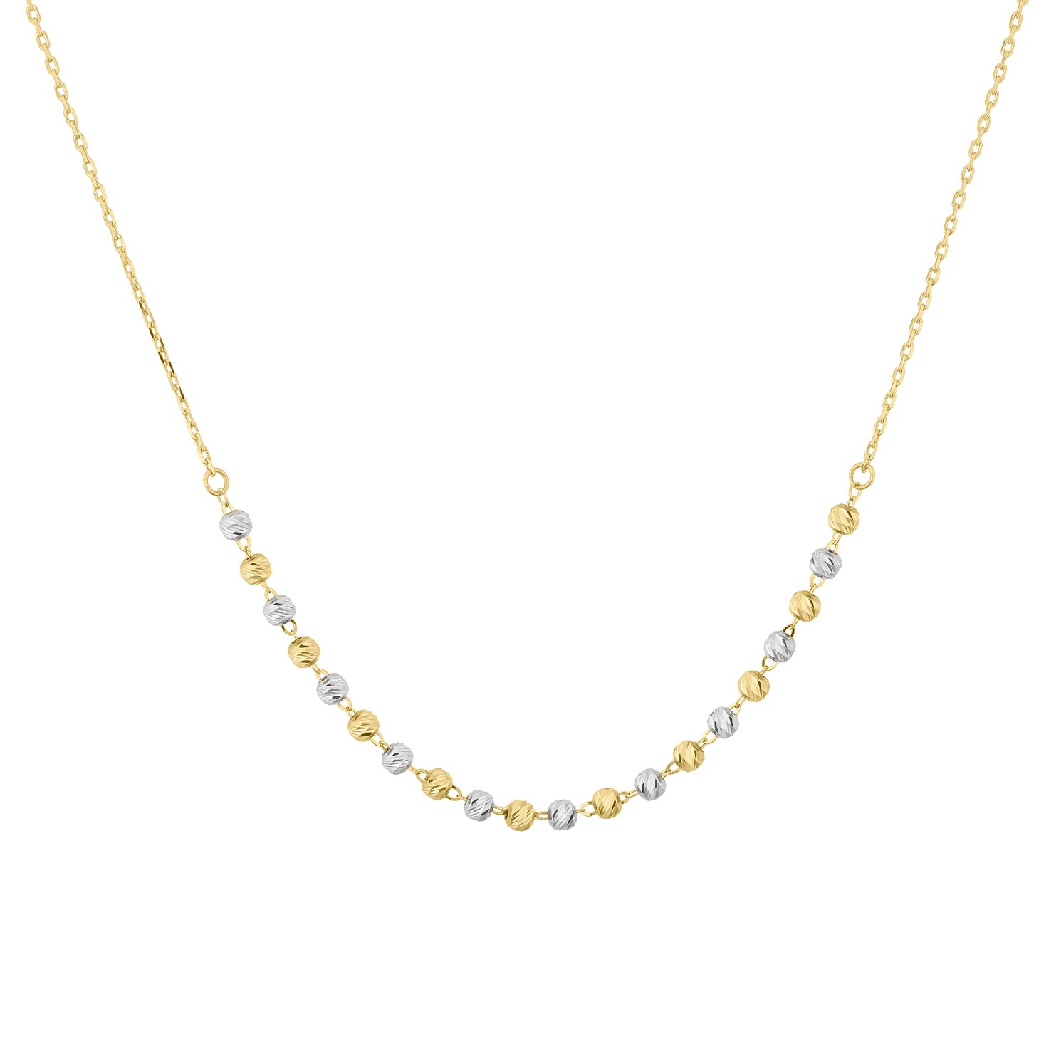 9ct Two Colour Gold Diamond-Cut Ball Necklace - Product number 5088925