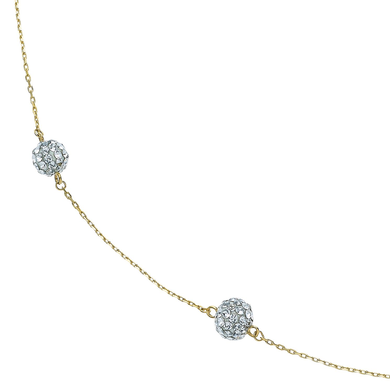 9ct Yellow Gold Crystal Ball Station Necklace - Product number 5088933