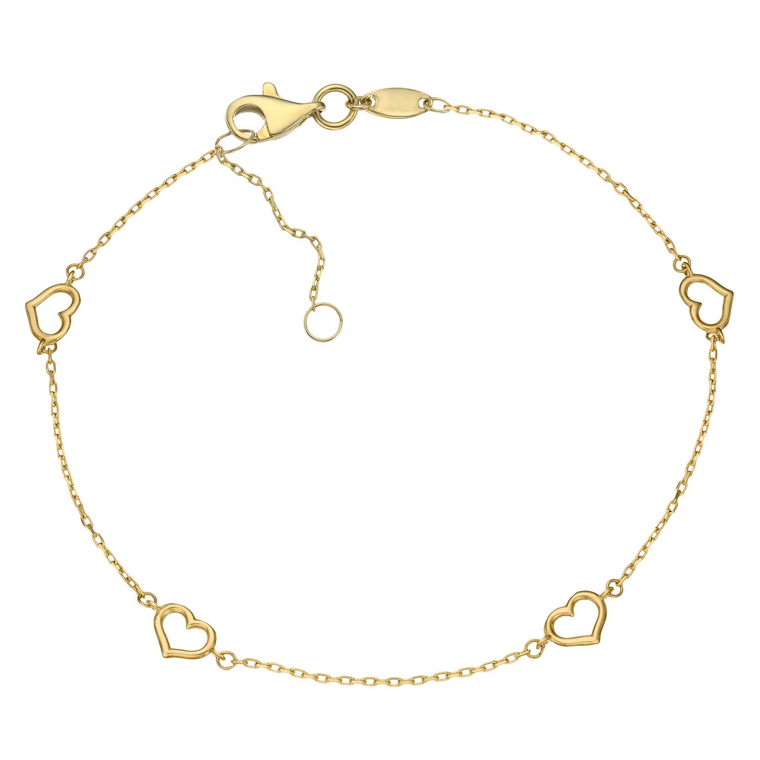 9ct Yellow Gold Heart Station Bracelet - Product number 5088941