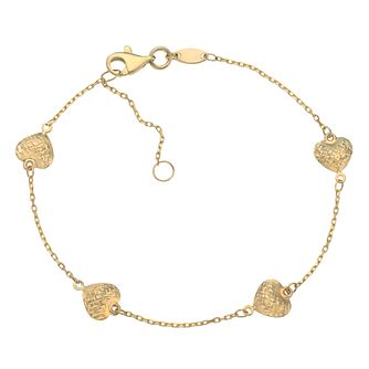 9ct Yellow Gold Diamond-Cut Heart Station Bracelet - Product number 5088968