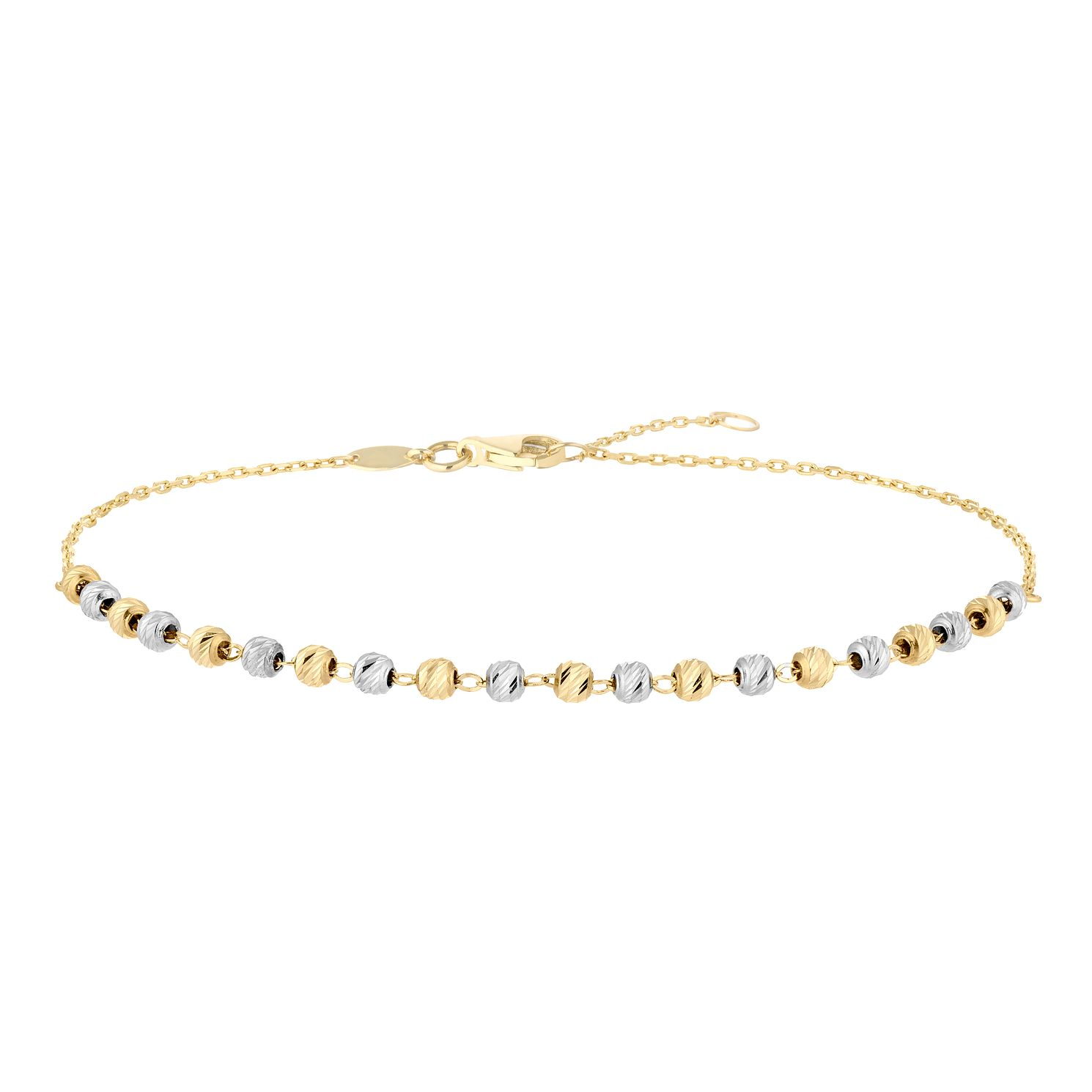 9ct Two Colour Gold Diamond-Cut Ball Bracelet - Product number 5088984