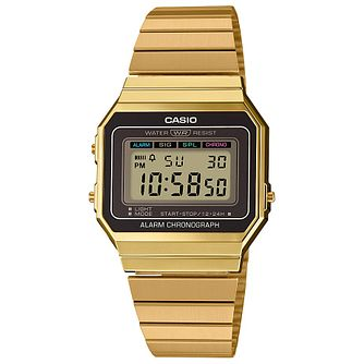 Casio Vintage Yellow Gold Tone Bracelet Watch - Product number 5089530