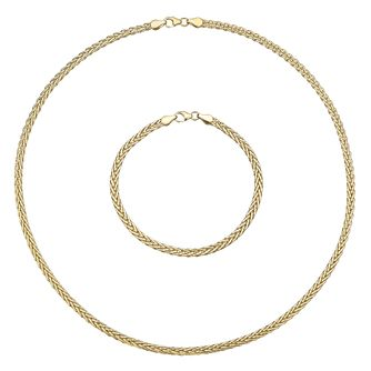9ct Yellow Gold Necklace and Bracelet Set - Product number 5089980