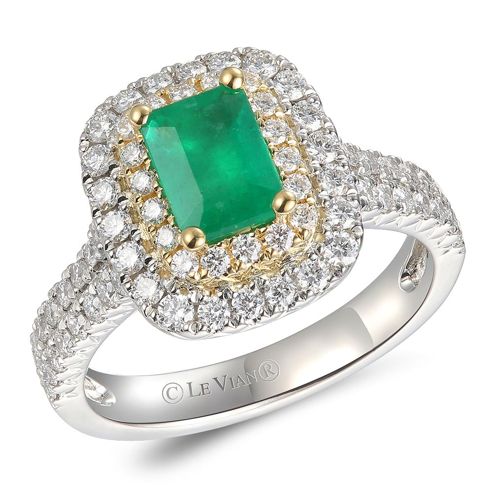 Le Vian Platinum Emerald & 0.80ct Diamond Ring - Product number 5090008