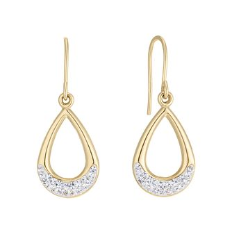 9ct Yellow Gold Crystal Open Teardrop Drop Earrings - Product number 5091225