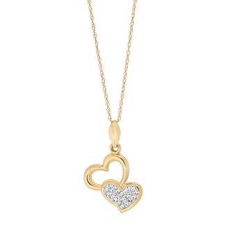 9ct Yellow Gold Crystal Double Heart Pendant - Product number 5091241