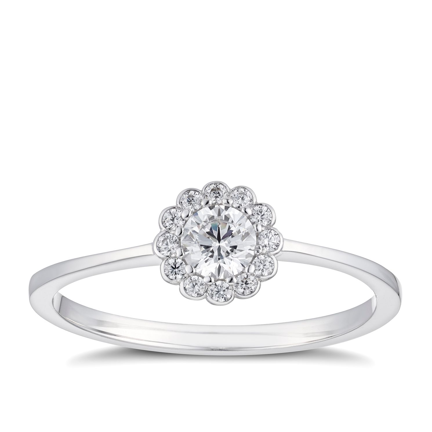 9ct White Gold Cubic Zirconia Flower Cluster Ring - Product number 5093708