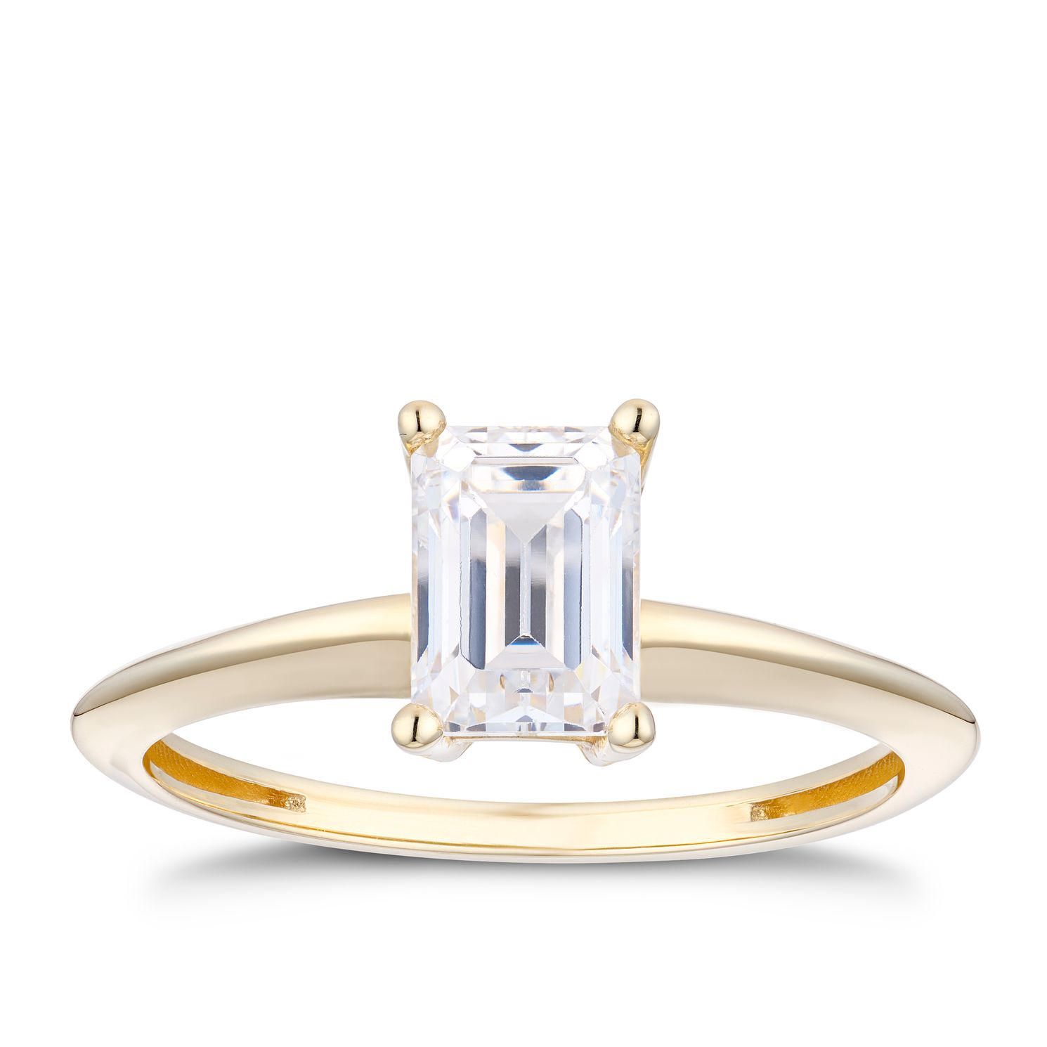 9ct Yellow Gold Cubic Zirconia Emerald Cut Ring - Product number 5094488