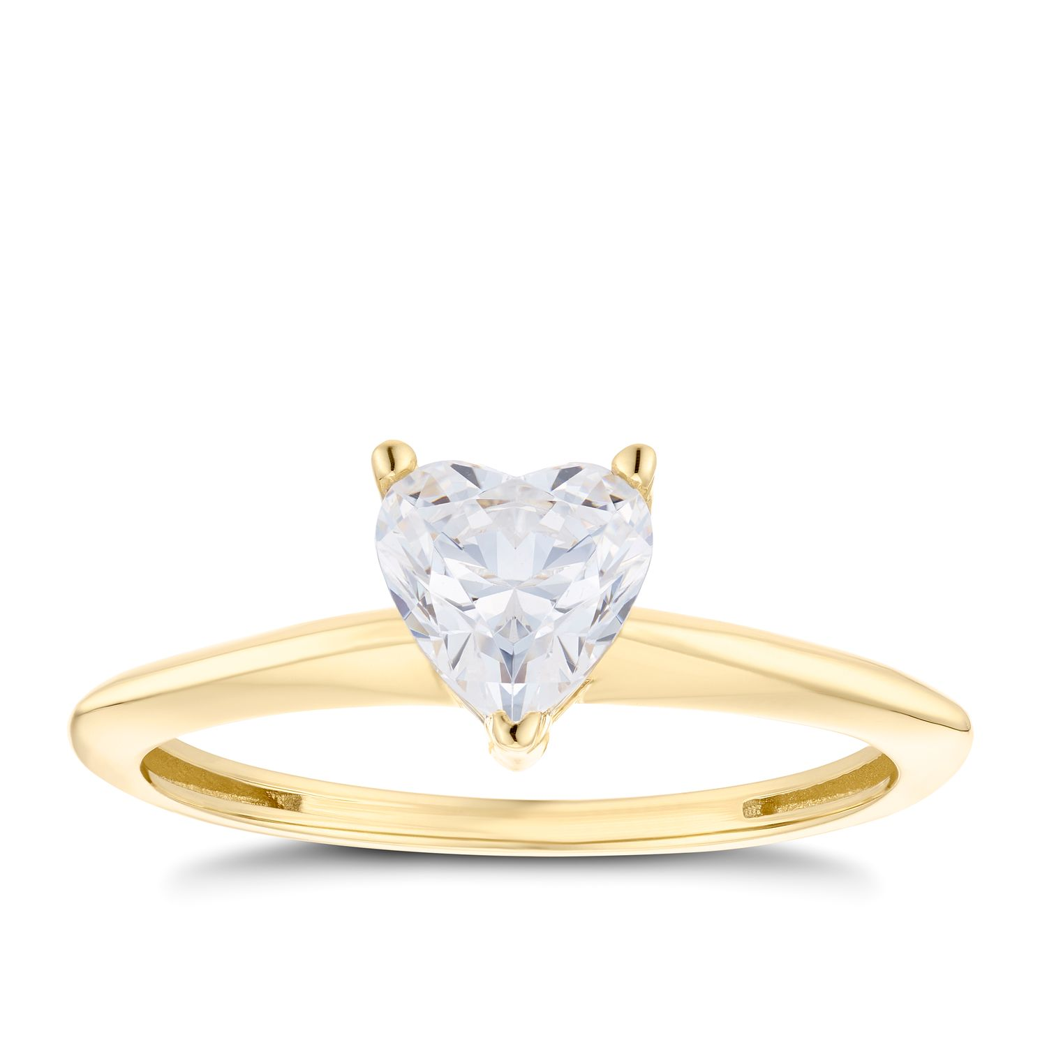 9ct Yellow Gold Cubic Zirconia Heart Solitaire Ring - Product number 5095743