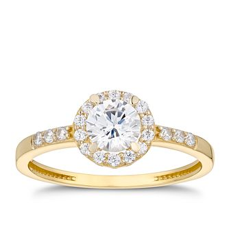 9ct Yellow Gold Cubic Zirconia Round Halo Ring - Product number 5097959