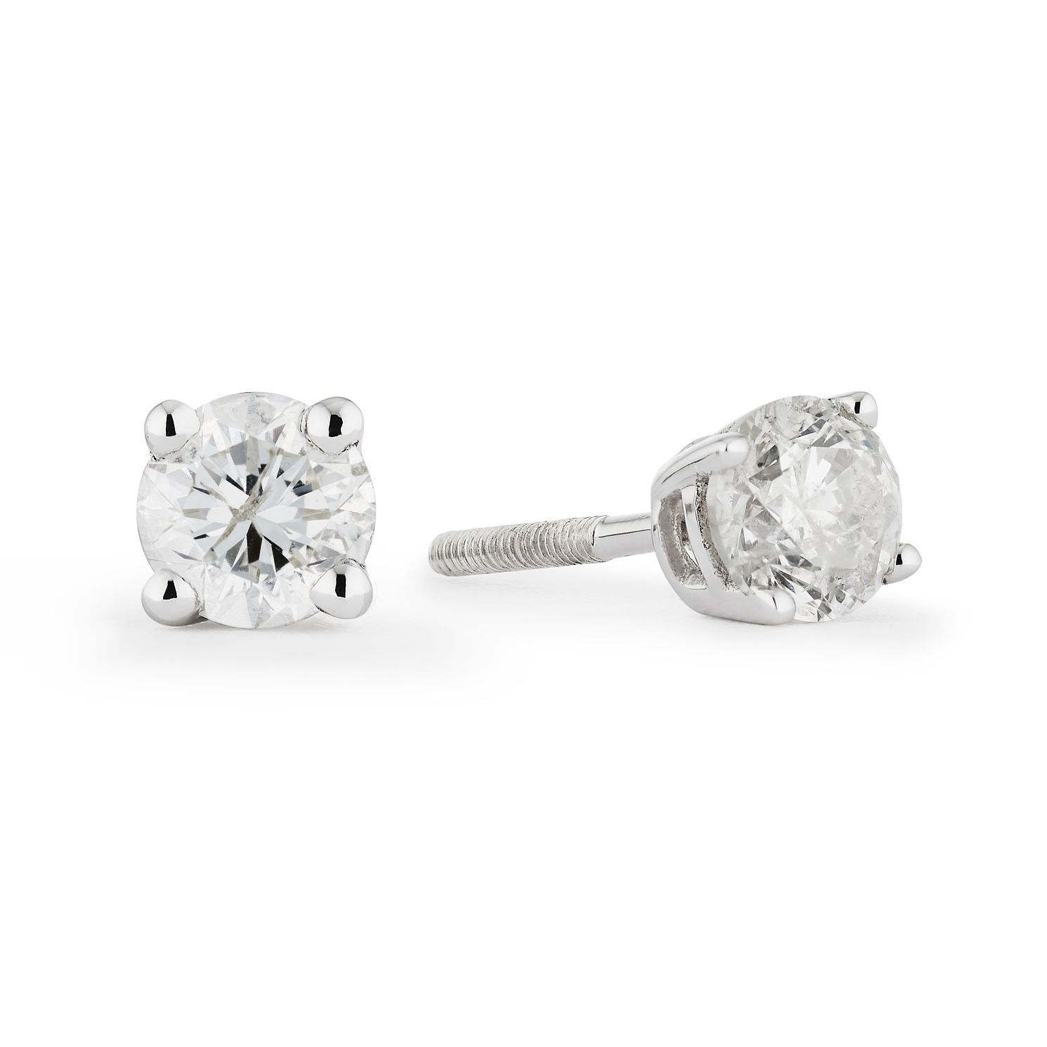 9ct White Gold 2/3ct Diamond Solitaire Stud Earrings - Product number 5100933
