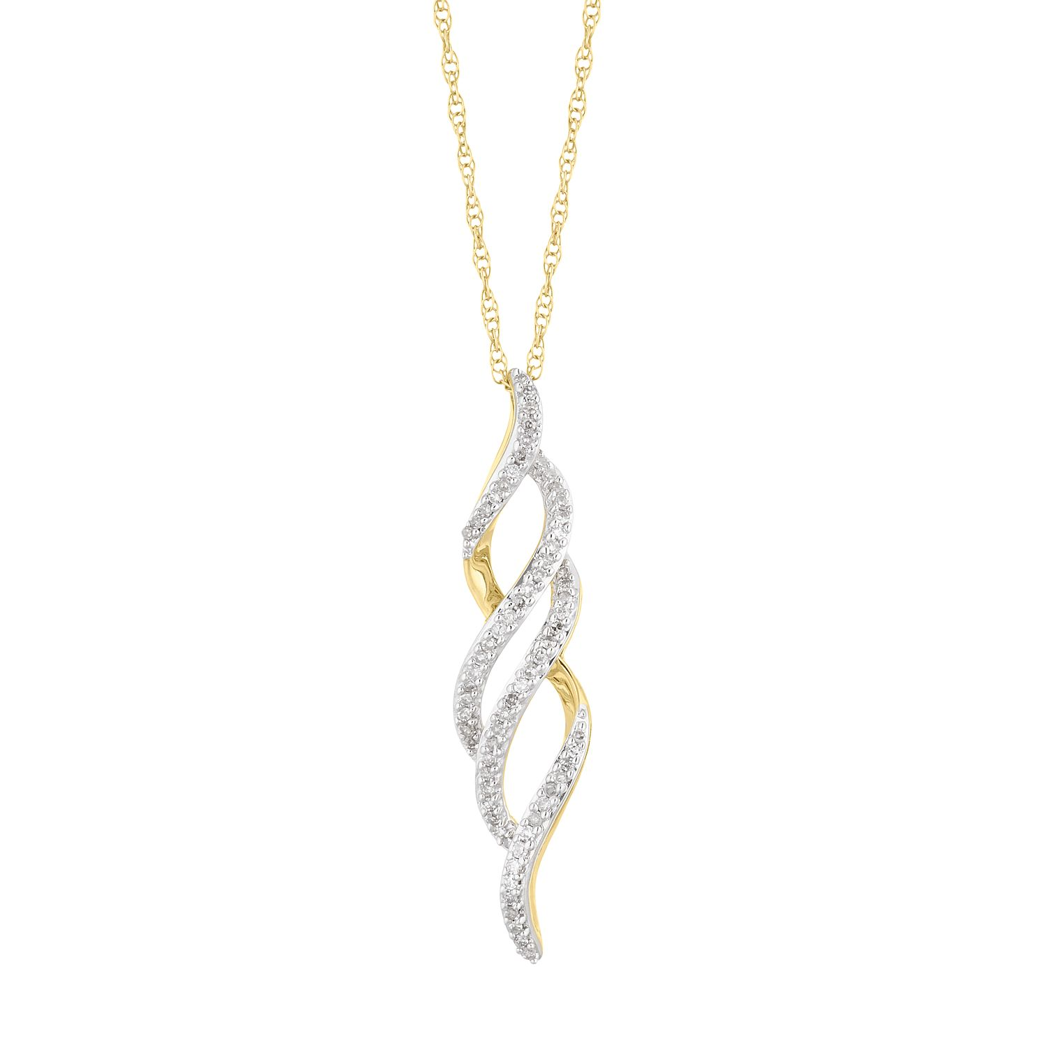 9ct Yellow Gold And 1/10 Diamond Twist Pendant - Product number 5100941