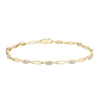 9ct Yellow Gold 1/10 Diamond Marquise Bracelet - Product number 5100976