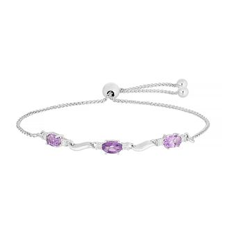 Silver Amethyst  1/5ct Diamond Bracelet - Product number 5101034