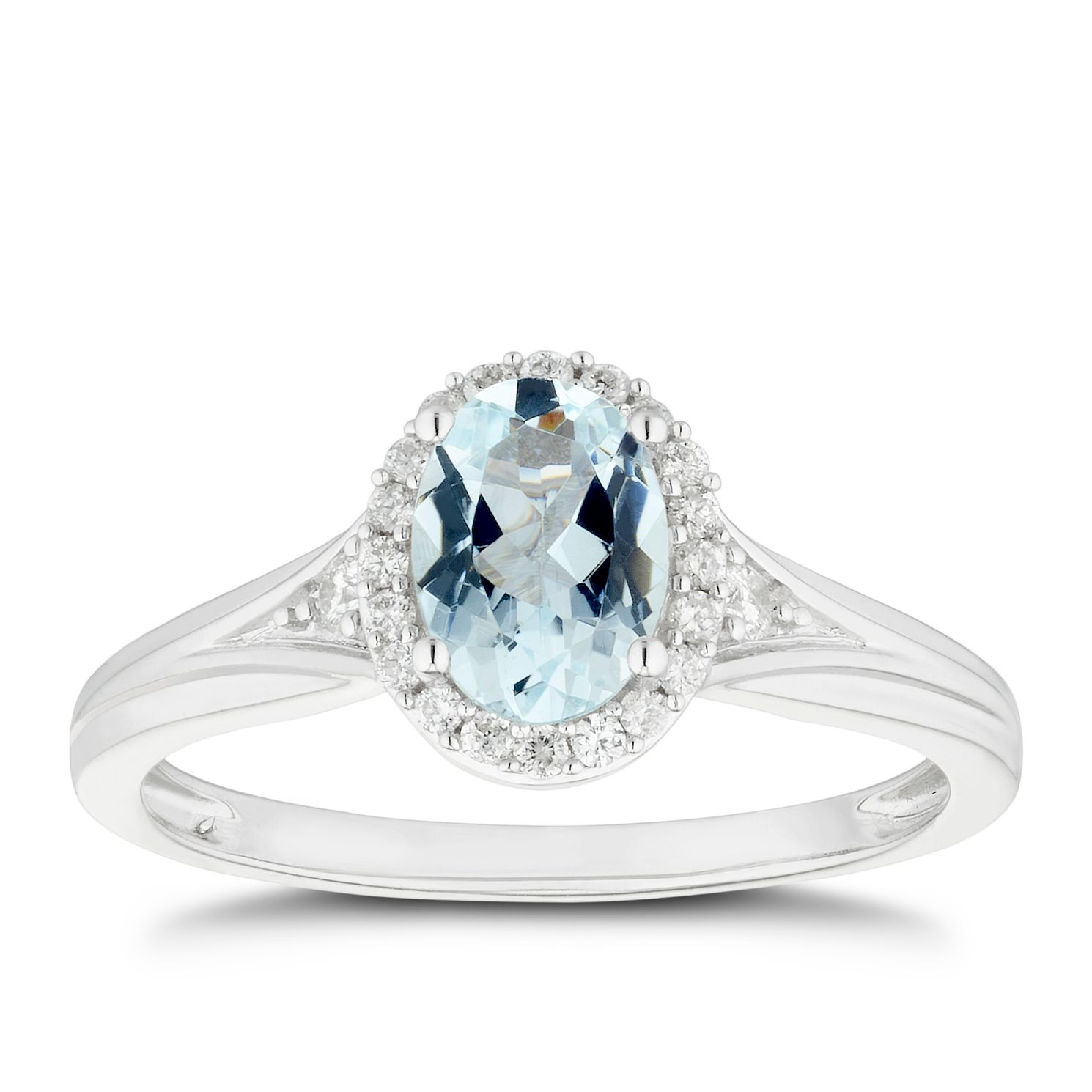 Silver Blue Aquamarine 0.08ct Diamond Ring - Product number 5101158