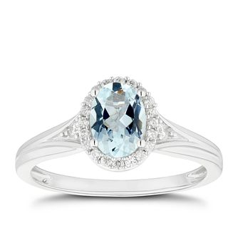 Silver Blue Topaz 0.08ct Diamond Ring - Product number 5101158