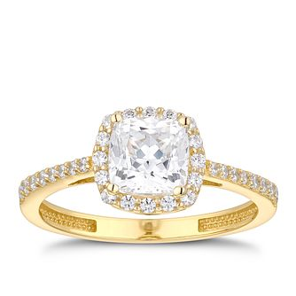 9ct Yellow Gold Cubic Zirconia Cushion Halo Ring - Product number 5101557