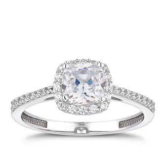 9ct White Gold Cubic Zirconia Cushion Halo Ring - Product number 5101808