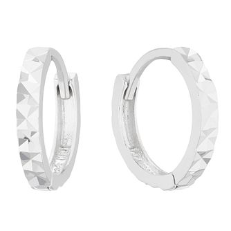 Children's Silver Diamond-Cut Huggie Earrings - Product number 5103045