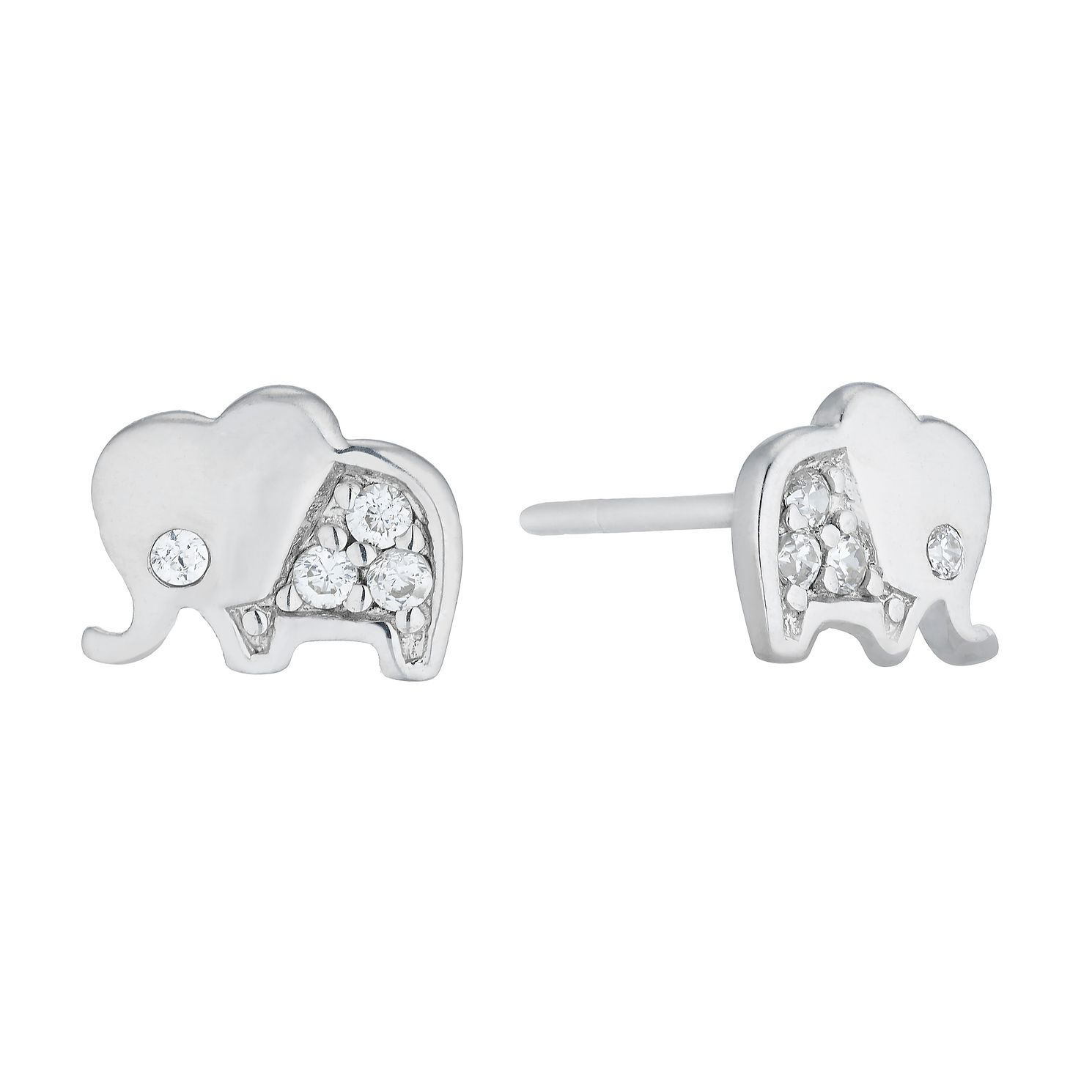 Children's Silver Cubic Zirconia Elephant Stud Earrings - Product number 5104874