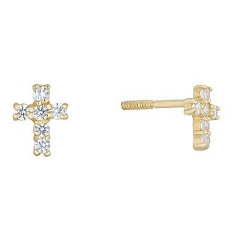 Children's 9ct Gold Cubic Zirconia Cross Stud Earrings - Product number 5105005