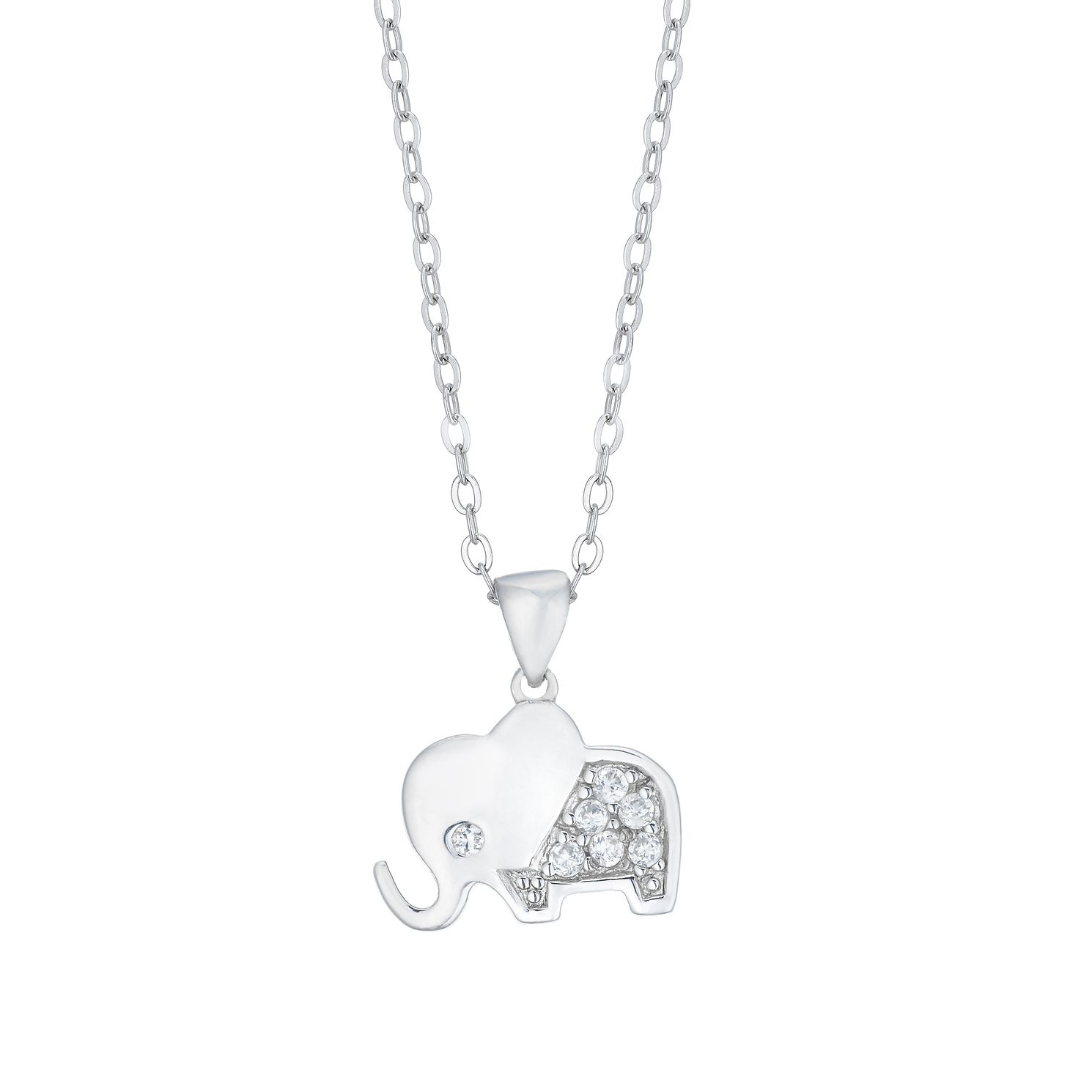 Children's Silver Cubic Zirconia Elephant Pendant - Product number 5105358