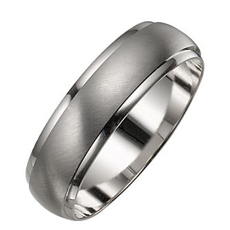 Men S 9ct White Gold Satin And Polished Ring
