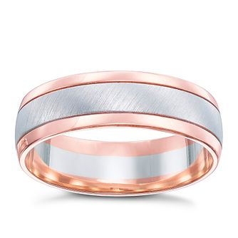 9ct White & Rose Gold Matt & Polish 6mm Ring - Product number 5108209