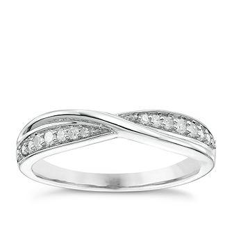 18ct White Gold 0.15ct Diamond Crossover Band - Product number 5108470