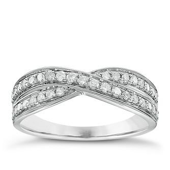 18ct White Gold 34Pt Diamond Crossover Band - Product number 5108772