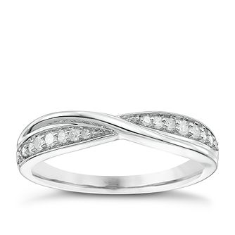 Platinum 0.15ct Diamond Crossover Band - Product number 5109205