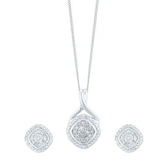 Diamond 9ct White Gold 0.17ct Diamond Jewellery Set - Product number 5109582