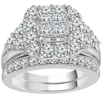 9ct White Gold 2 Carat Diamond Perfect Fit Bridal Set - Product number 5111374