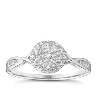 9ct White Gold 1/10 Carat Round Diamond Cluster Ring - Product number 5112036