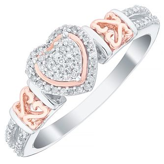 Open Hearts By Jane Seymour Silver & Rose Gold Heart Ring - Product number 5112443