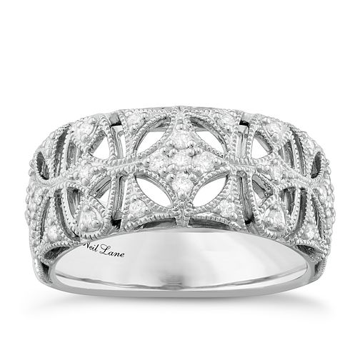 Neil Lane Designs Silver 0.16ct Diamond Vintage Band - Product number 5112982