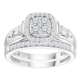 Perfect Fit 9ct White Gold 1/2ct Diamond Cluster Bridal Set - Product number 5114268