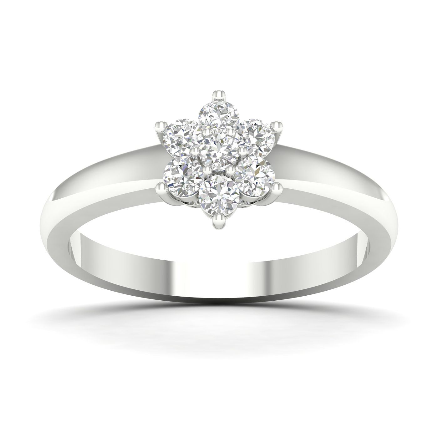 9ct White Gold & 1/2ct Diamond Flower Cluster Ring - Product number 5119014