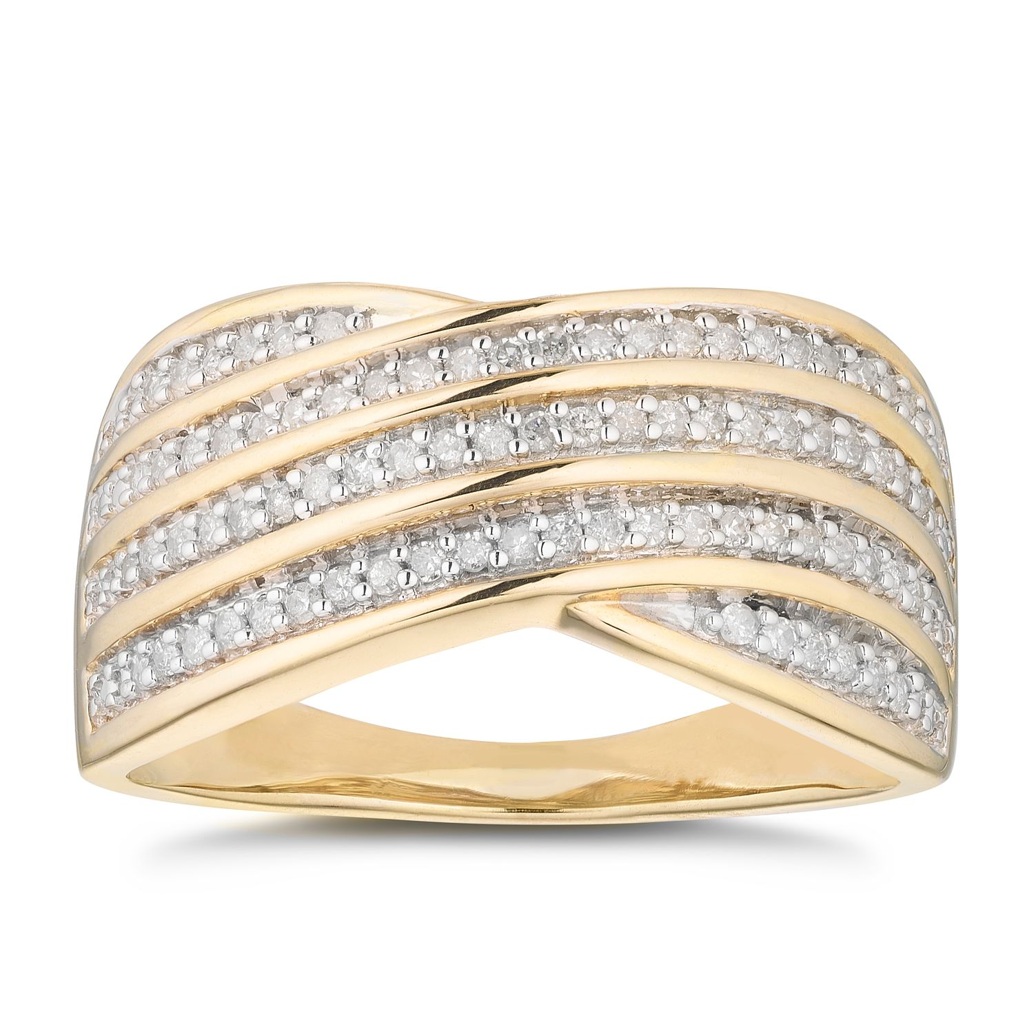 9ct Yellow Gold 1/4ct Diamond Crossover Eternity Ring - Product number 5119901