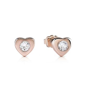 Guess Rose Gold-Plated Stone Set Little Heart Stud Earrings - Product number 5120659
