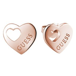 Guess Rose Gold-Plated Heart Cut Out Stud Earrings - Product number 5120799