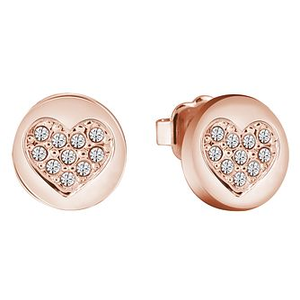 9198edfd6 Guess Rose Gold-Plated Sparkle Heart Stud Earrings - Product number 5120829