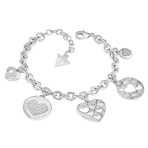 Guess Rhodium-Plated Multi Heart Charm Bracelet - Product number 5121116