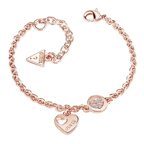 Guess Rose Gold-Plated Sparkle Heart Adjustable Bracelet - Product number 5121140