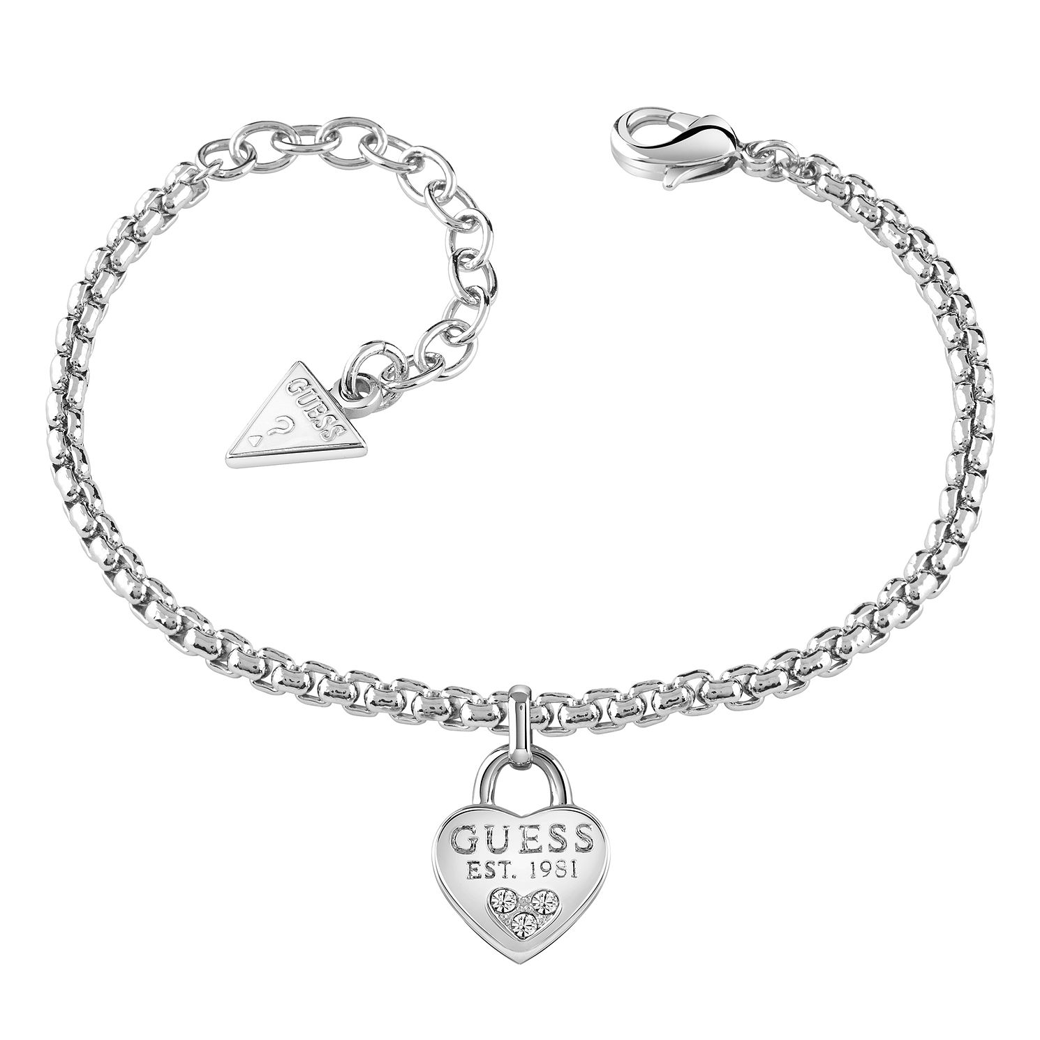 Guess Rhodium-Plated Swarovski Crystal Heart Bracelet - Product number 5121191