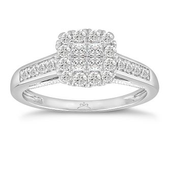 Princessa 18ct White Gold 1/2ct Diamond Square Cluster Ring - Product number 5122457