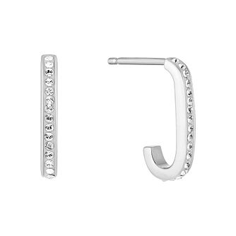 Evoke Silver & Rhodium Plated Crystal J Hoop Earrings - Product number 5123461