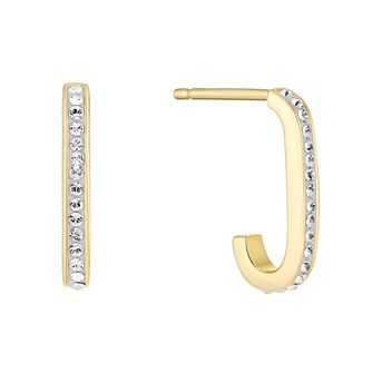 Evoke Silver & 9ct Gold Plated Crystal J Hoop Earrings - Product number 5123488